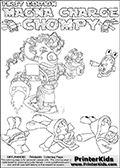 Skylanders Swap Force - MAGNA CHARGE Vs CHOMPY - Coloring Page 1 Super Thin Line