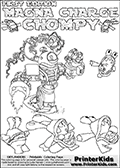 Printable or online colorable Skylanders Swap Force coloring page with the original swappable character MAGNA CHARGE and 6 Chompy figures (chompies that can be colored). Chompies are somewhat easy opponents players face in the different Skylanders games.  MAGNA CHARGE is a Skylander that can be bought and combined with other swappable Skylanders - the two parts MAGNA and CHARGE are in the same figure box! The colouring page is drawn with a super thin line that has a shadow applied to it. This make the stroke easier to see while maintaining the majority of the colorable areas. The printable coloring page also have the skylander name and CHOMPY as colorable text. Print and color this Skylanders Swap Force MAGNA CHARGE coloring print page that is drawn and made available by Loke Hansen (http://www.LokeHansen.com) based on the original artwork of the Skylanders characters from the Skylanders Swap Force website.