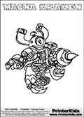 If you are looking for printable coloring pages with Skylanders Swap Force figures or characters that has one or more parts from the MAGNA CHARGE skylander - then you have found one of the MANY printable coloring pages here at www.PrinterKids.com that has just that! This printable coloring page (that can be colored online via our website as well) show the Skylanders Swap Force figure combination MAGNA KRAKEN. MAGNA KRAKEN is drawn with the upper part of the MAGNA CHARGE Skylander and the lower part of the FIRE KRAKEN Skylander in this coloring sheet. The MAGNA KRAKEN skylander parts are drawn so that the Skylander can be colored in full - as one character or figure. Print and color this Skylanders Swap Force MAGNA KRAKEN page that is drawn by Loke Hansen (http://www.LokeHansen.com) based on the original artwork of the Skylanders characters from the Skylanders Swap Force website. Be sure to check out the many other Skylanders Swap force coloring pages in our section!