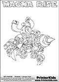 Printable or online colorable Skylanders Swap Force coloring page. This colouring sheet show the combination skylander MAGNA RISE that has to be made by combining parts from other Skylanders Swap Force characters! MAGNA RISE is drawn with the upper part of the MAGNA CHARGE Skylander and the lower part of the SPY RISE Skylander. In this coloring page, the MAGNA RISE skylander can be colored in full - as a complete skylander. The colouring page is drawn with a super thin line and has a colorable text with the MAGNA RISE letters as well. Print and color this Skylanders Swap Force MAGNA RISE coloring book page that is drawn and made available by Loke Hansen (http://www.LokeHansen.com) based on the original artwork of the Skylanders characters from the Skylanders Swap Force website. This coloring page variant has the highest amount of detail areas due to the thin drawing line used. Be sure to check the two other variants of this coloring page for more stroke (the line used to draw the MAGNA RISE with) options.