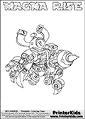 Skylanders Swap Force coloring page with MAGNA RISE. The MAGNA RISE Skylander figure cannot be bought as it is, it must be made by combining parts from MAGNA charge and SPY RISE! MAGNA RISE is drawn with the upper part of the MAGNA CHARGE Skylander and the lower part of the SPY RISE Skylander. In this coloring page, the MAGNA RISE skylander can be colored completely. The colouring page is drawn with a thin shaded line and has a colorable text with the MAGNA RISE letters as well. Print and color this Skylanders Swap Force MAGNA RISE coloring book page that is drawn and made available by Loke Hansen (http://www.LokeHansen.com) based on the original artwork of the Skylanders characters from the Skylanders Swap Force website. This line variant is the -editors choice- where detail areas and line appearance are in best balance. Be sure to check the two other variants of this coloring page for more stroke (the line used to draw the MAGNA RISE with) options.