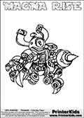 Printable and online colorable page for Skylanders Swap Force fans with the combination figure called MAGNA RISE. MAGNA RISE must be made by combining parts from other Skylanders Swap Force characters! MAGNA RISE is drawn with the upper part of the MAGNA CHARGE Skylander and the lower part of the SPY RISE Skylander, the part used from each Skylander is used in the new skylanders name. In this coloring page, the MAGNA RISE skylander can be colored completely. The colouring page is drawn with a very thick line making it ideal for the youngest Skylanders Swap Force fans. The downside of the thick line is that some detail areas become unavailable for coloring. The coloring page has a colorable text with the MAGNA RISE letters as well. Print and color this Skylanders Swap Force MAGNA RISE coloring book page that is drawn and made available by Loke Hansen (http://www.LokeHansen.com) based on the original artwork of the Skylanders characters from the Skylanders Swap Force website. Be sure to check the two other variants of this coloring page for more line width options.
