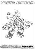 Skylanders Swap Force coloring page with MAGNA SHADOW. The MAGNA SHADOW Skylander figure cannot be bought as it is, it must be made by combining parts from MAGNA charge and TRAP SHADOW! MAGNA SHADOW is drawn with the upper part of the MAGNA CHARGE Skylander and the lower part of the TRAP SHADOW Skylander. In this coloring page, the MAGNA SHADOW skylander can be colored completely. The colouring page is drawn with a thin shaded line and has a colorable text with the MAGNA SHADOW letters as well. Print and color this Skylanders Swap Force MAGNA SHADOW coloring book page that is drawn and made available by Loke Hansen (http://www.LokeHansen.com) based on the original artwork of the Skylanders characters from the Skylanders Swap Force website. This line variant is the -editors choice- where detail areas and line appearance are in best balance. Be sure to check the two other variants of this coloring page for more stroke (the line used to draw the MAGNA SHADOW with) options.