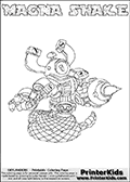 Printable or online colorable Skylanders Swap Force coloring page. This colouring sheet show the combination skylander MAGNA SHAKE that has to be made by combining parts from other Skylanders Swap Force characters! MAGNA SHAKE is drawn with the upper part of the MAGNA CHARGE Skylander and the lower part of the RATTLE SHAKE Skylander. In this coloring page, the MAGNA SHAKE skylander can be colored in full - as a complete skylander. The colouring page is drawn with a super thin line and has a colorable text with the MAGNA SHAKE letters as well. Print and color this Skylanders Swap Force MAGNA SHAKE coloring book page that is drawn and made available by Loke Hansen (http://www.LokeHansen.com) based on the original artwork of the Skylanders characters from the Skylanders Swap Force website. This coloring page variant has the highest amount of detail areas due to the thin drawing line used. Be sure to check the two other variants of this coloring page for more stroke (the line used to draw the MAGNA SHAKE with) options.
