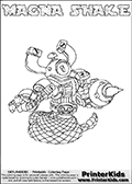 Skylanders Swap Force coloring page with MAGNA SHAKE. The MAGNA SHAKE Skylander figure cannot be bought as it is, it must be made by combining parts from MAGNA charge and RATTLE SHAKE! MAGNA SHAKE is drawn with the upper part of the MAGNA CHARGE Skylander and the lower part of the RATTLE SHAKE Skylander. In this coloring page, the MAGNA SHAKE skylander can be colored completely. The colouring page is drawn with a thin shaded line and has a colorable text with the MAGNA SHAKE letters as well. Print and color this Skylanders Swap Force MAGNA SHAKE coloring book page that is drawn and made available by Loke Hansen (http://www.LokeHansen.com) based on the original artwork of the Skylanders characters from the Skylanders Swap Force website. This line variant is the -editors choice- where detail areas and line appearance are in best balance. Be sure to check the two other variants of this coloring page for more stroke (the line used to draw the MAGNA SHAKE with) options.