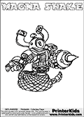 Printable and online colorable page for Skylanders Swap Force fans with the combination figure called MAGNA SHAKE. MAGNA SHAKE must be made by combining parts from other Skylanders Swap Force characters! MAGNA SHAKE is drawn with the upper part of the MAGNA CHARGE Skylander and the lower part of the RATTLE SHAKE Skylander, the part used from each Skylander is used in the new skylanders name. In this coloring page, the MAGNA SHAKE skylander can be colored completely. The colouring page is drawn with a very thick line making it ideal for the youngest Skylanders Swap Force fans. The downside of the thick line is that some detail areas become unavailable for coloring. The coloring page has a colorable text with the MAGNA SHAKE letters as well. Print and color this Skylanders Swap Force MAGNA SHAKE coloring book page that is drawn and made available by Loke Hansen (http://www.LokeHansen.com) based on the original artwork of the Skylanders characters from the Skylanders Swap Force website. Be sure to check the two other variants of this coloring page for more line width options.