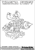 Printable or online colorable Skylanders Swap Force coloring page. This colouring sheet show the combination skylander MAGNA SHIFT that has to be made by combining parts from other Skylanders Swap Force characters! MAGNA SHIFT is drawn with the upper part of the MAGNA CHARGE Skylander and the lower part of the NIGHT SHIFT Skylander. In this coloring page, the MAGNA SHIFT skylander can be colored in full - as a complete skylander. The colouring page is drawn with a super thin line and has a colorable text with the MAGNA SHIFT letters as well. Print and color this Skylanders Swap Force MAGNA SHIFT coloring book page that is drawn and made available by Loke Hansen (http://www.LokeHansen.com) based on the original artwork of the Skylanders characters from the Skylanders Swap Force website. This coloring page variant has the highest amount of detail areas due to the thin drawing line used. Be sure to check the two other variants of this coloring page for more stroke (the line used to draw the MAGNA SHIFT with) options.