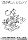 Skylanders Swap Force coloring page with MAGNA SHIFT. The MAGNA SHIFT Skylander figure cannot be bought as it is, it must be made by combining parts from MAGNA charge and NIGHT SHIFT! MAGNA SHIFT is drawn with the upper part of the MAGNA CHARGE Skylander and the lower part of the NIGHT SHIFT Skylander. In this coloring page, the MAGNA SHIFT skylander can be colored completely. The colouring page is drawn with a thin shaded line and has a colorable text with the MAGNA SHIFT letters as well. Print and color this Skylanders Swap Force MAGNA SHIFT coloring book page that is drawn and made available by Loke Hansen (http://www.LokeHansen.com) based on the original artwork of the Skylanders characters from the Skylanders Swap Force website. This line variant is the -editors choice- where detail areas and line appearance are in best balance. Be sure to check the two other variants of this coloring page for more stroke (the line used to draw the MAGNA SHIFT with) options.