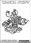 Printable and online colorable page for Skylanders Swap Force fans with the combination figure called MAGNA SHIFT. MAGNA SHIFT must be made by combining parts from other Skylanders Swap Force characters! MAGNA SHIFT is drawn with the upper part of the MAGNA CHARGE Skylander and the lower part of the NIGHT SHIFT Skylander, the part used from each Skylander is used in the new skylanders name. In this coloring page, the MAGNA SHIFT skylander can be colored completely. The colouring page is drawn with a very thick line making it ideal for the youngest Skylanders Swap Force fans. The downside of the thick line is that some detail areas become unavailable for coloring. The coloring page has a colorable text with the MAGNA SHIFT letters as well. Print and color this Skylanders Swap Force MAGNA SHIFT coloring book page that is drawn and made available by Loke Hansen (http://www.LokeHansen.com) based on the original artwork of the Skylanders characters from the Skylanders Swap Force website. Be sure to check the two other variants of this coloring page for more line width options.