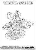 If you are looking for printable coloring pages with Skylanders Swap Force figures or characters that has one or more parts from the MAGNA CHARGE skylander - then you have found one of the MANY printable coloring pages here at www.PrinterKids.com that has just that! This printable coloring page (that can be colored online via our website as well) show the Skylanders Swap Force figure combination MAGNA STONE. MAGNA STONE is drawn with the upper part of the MAGNA CHARGE Skylander and the lower part of the DOOM STONE Skylander in this coloring sheet. The MAGNA STONE skylander parts are drawn so that the Skylander can be colored in full - as one character or figure. Print and color this Skylanders Swap Force MAGNA STONE page that is drawn by Loke Hansen (http://www.LokeHansen.com) based on the original artwork of the Skylanders characters from the Skylanders Swap Force website. Be sure to check out the many other Skylanders Swap force coloring pages in our section!
