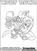 Printable or online colorable Skylanders Swap Force coloring page. This colouring sheet show the combination skylander NIGHT BOMB that has to be made by combining parts from other Skylanders Swap Force characters! NIGHT BOMB is drawn with the upper part of the NIGHT SHIFT Skylander and the lower part of the STINK BOMB Skylander. In this coloring page, the NIGHT BOMB skylander can be colored in full - as a complete skylander. The colouring page is drawn with a super thin line and has a colorable text with the NIGHT BOMB letters as well. Print and color this Skylanders Swap Force NIGHT BOMB coloring book page that is drawn and made available by Loke Hansen (http://www.LokeHansen.com) based on the original artwork of the Skylanders characters from the Skylanders Swap Force website. This coloring page variant has the highest amount of detail areas due to the thin drawing line used. Be sure to check the two other variants of this coloring page for more stroke (the line used to draw the NIGHT BOMB with) options.