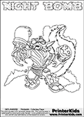 Skylanders Swap Force coloring page with NIGHT BOMB. The NIGHT BOMB Skylander figure cannot be bought as it is, it must be made by combining parts from NIGHT SHIFT AND STINK BOMB! NIGHT BOMB is drawn with the upper part of the NIGHT SHIFT Skylander and the lower part of the STINK BOMB Skylander. In this coloring page, the NIGHT BOMB skylander can be colored completely. The colouring page is drawn with a thin shaded line and has a colorable text with the NIGHT BOMB letters as well. Print and color this Skylanders Swap Force NIGHT BOMB coloring book page that is drawn and made available by Loke Hansen (http://www.LokeHansen.com) based on the original artwork of the Skylanders characters from the Skylanders Swap Force website. This line variant is the -editors choice- where detail areas and line appearance are in best balance. Be sure to check the two other variants of this coloring page for more stroke (the line used to draw the NIGHT BOMB with) options.
