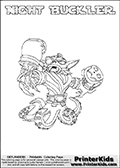 Printable or online colorable Skylanders Swap Force coloring page. This colouring sheet show the combination skylander NIGHT BUCKLER that has to be made by combining parts from other Skylanders Swap Force characters! NIGHT BUCKLER is drawn with the upper part of the NIGHT SHIFT Skylander and the lower part of the WASH BUCKLER Skylander. In this coloring page, the NIGHT BUCKLER skylander can be colored in full - as a complete skylander. The colouring page is drawn with a super thin line and has a colorable text with the NIGHT BUCKLER letters as well. Print and color this Skylanders Swap Force NIGHT BUCKLER coloring book page that is drawn and made available by Loke Hansen (http://www.LokeHansen.com) based on the original artwork of the Skylanders characters from the Skylanders Swap Force website. This coloring page variant has the highest amount of detail areas due to the thin drawing line used. Be sure to check the two other variants of this coloring page for more stroke (the line used to draw the NIGHT BUCKLER with) options.