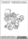 Skylanders Swap Force coloring page with NIGHT BUCKLER. The NIGHT BUCKLER Skylander figure cannot be bought as it is, it must be made by combining parts from NIGHT SHIFT AND WASH BUCKLER! NIGHT BUCKLER is drawn with the upper part of the NIGHT SHIFT Skylander and the lower part of the WASH BUCKLER Skylander. In this coloring page, the NIGHT BUCKLER skylander can be colored completely. The colouring page is drawn with a thin shaded line and has a colorable text with the NIGHT BUCKLER letters as well. Print and color this Skylanders Swap Force NIGHT BUCKLER coloring book page that is drawn and made available by Loke Hansen (http://www.LokeHansen.com) based on the original artwork of the Skylanders characters from the Skylanders Swap Force website. This line variant is the -editors choice- where detail areas and line appearance are in best balance. Be sure to check the two other variants of this coloring page for more stroke (the line used to draw the NIGHT BUCKLER with) options.