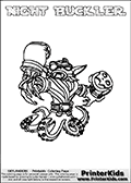 Printable and online colorable page for Skylanders Swap Force fans with the combination figure called NIGHT BUCKLER. NIGHT BUCKLER must be made by combining parts from other Skylanders Swap Force characters! NIGHT BUCKLER is drawn with the upper part of the NIGHT SHIFT Skylander and the lower part of the WASH BUCKLER Skylander, the part used from each Skylander is used in the new skylanders name. In this coloring page, the NIGHT BUCKLER skylander can be colored completely. The colouring page is drawn with a very thick line making it ideal for the youngest Skylanders Swap Force fans. The downside of the thick line is that some detail areas become unavailable for coloring. The coloring page has a colorable text with the NIGHT BUCKLER letters as well. Print and color this Skylanders Swap Force NIGHT BUCKLER coloring book page that is drawn and made available by Loke Hansen (http://www.LokeHansen.com) based on the original artwork of the Skylanders characters from the Skylanders Swap Force website. Be sure to check the two other variants of this coloring page for more line width options.