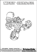 Freely available printable coloring page with the Skylanders Swap Force combined figure NIGHT CHARGE. This is one of the different printable coloring pages here at www.PrinterKids.com that have a colorable Skylanders Swap Force figure with one of more parts from the mysterious boxing themed skylander NIGHT SHIFT. This printable coloring sheet show the Skylanders Swap Force figure combination NIGHT CHARGE, that is drawn with the upper part of the NIGHT SHIFT Skylander holding a pair of boxing gloves and the lower part of the MAGNA CHARGE Skylander. In this coloring page, the NIGHT CHARGE skylander is designed so it can be colored in full - as one complete character (a free browser based online coloring page version is available as well for mouse and touch devices!). Print and color this Skylanders Swap Force NIGHT CHARGE page that is drawn by Loke Hansen (http://www.LokeHansen.com) based on the original artwork of the Skylanders characters from the Skylanders Swap Force website. Be sure to check out the many other Skylanders Swap force coloring pages!