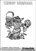 Freely available printable coloring page with the Skylanders Swap Force combined figure NIGHT DRILLA. This is one of the different printable coloring pages here at www.PrinterKids.com that have a colorable Skylanders Swap Force figure with one of more parts from the mysterious boxing themed skylander NIGHT SHIFT. This printable coloring sheet show the Skylanders Swap Force figure combination NIGHT DRILLA, that is drawn with the upper part of the NIGHT SHIFT Skylander holding a pair of boxing gloves and the lower part of the GRILLA DRILLA Skylander. In this coloring page, the NIGHT CHARGE skylander is designed so it can be colored in full - as one complete character (a free browser based online coloring page version is available as well for mouse and touch devices!). Print and color this Skylanders Swap Force NIGHT DRILLA page that is drawn by Loke Hansen (http://www.LokeHansen.com) based on the original artwork of the Skylanders characters from the Skylanders Swap Force website. Be sure to check out the many other Skylanders Swap force coloring pages!