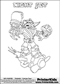 Freely available printable coloring page with the Skylanders Swap Force combined figure NIGHT JET. This is one of the different printable coloring pages here at www.PrinterKids.com that have a colorable Skylanders Swap Force figure with one of more parts from the mysterious boxing themed skylander NIGHT SHIFT. This printable coloring sheet show the Skylanders Swap Force figure combination NIGHT JET, that is drawn with the upper part of the NIGHT SHIFT Skylander holding a pair of boxing gloves and the lower part of the BOOM JET Skylander. In this coloring page, the NIGHT JET skylander is designed so it can be colored in full - as one complete character (a free browser based online coloring page version is available as well for mouse and touch devices!). Print and color this Skylanders Swap Force NIGHT JET page that is drawn by Loke Hansen (http://www.LokeHansen.com) based on the original artwork of the Skylanders characters from the Skylanders Swap Force website. Be sure to check out the many other Skylanders Swap force coloring pages!