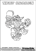 Freely available printable coloring page with the Skylanders Swap Force combined figure NIGHT KRAKEN. This is one of the different printable coloring pages here at www.PrinterKids.com that have a colorable Skylanders Swap Force figure with one of more parts from the mysterious boxing themed skylander NIGHT SHIFT. This printable coloring sheet show the Skylanders Swap Force figure combination NIGHT KRAKEN, that is drawn with the upper part of the NIGHT SHIFT Skylander holding a pair of boxing gloves and the lower part of the FIRE KRAKEN Skylander. In this coloring page, the NIGHT KRAKEN skylander is designed so it can be colored in full - as one complete character (a free browser based online coloring page version is available as well for mouse and touch devices!). Print and color this Skylanders Swap Force NIGHT KRAKEN page that is drawn by Loke Hansen (http://www.LokeHansen.com) based on the original artwork of the Skylanders characters from the Skylanders Swap Force website. Be sure to check out the many other Skylanders Swap force coloring pages!