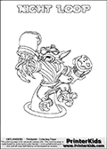 Freely available printable coloring page with the Skylanders Swap Force combined figure NIGHT LOOP. This is one of the different printable coloring pages here at www.PrinterKids.com that have a colorable Skylanders Swap Force figure with one of more parts from the mysterious boxing themed skylander NIGHT SHIFT. This printable coloring sheet show the Skylanders Swap Force figure combination NIGHT LOOP, that is drawn with the upper part of the NIGHT SHIFT Skylander holding a pair of boxing gloves and the lower part of the HOOT LOOP Skylander. In this coloring page, the NIGHT LOOP skylander is designed so it can be colored in full - as one complete character (a free browser based online coloring page version is available as well for mouse and touch devices!). Print and color this Skylanders Swap Force NIGHT LOOP page that is drawn by Loke Hansen (http://www.LokeHansen.com) based on the original artwork of the Skylanders characters from the Skylanders Swap Force website. Be sure to check out the many other Skylanders Swap force coloring pages!