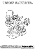 Freely available printable coloring page with the Skylanders Swap Force combined figure NIGHT RANGER. This is one of the different printable coloring pages here at www.PrinterKids.com that have a colorable Skylanders Swap Force figure with one of more parts from the mysterious boxing themed skylander NIGHT SHIFT. This printable coloring sheet show the Skylanders Swap Force figure combination NIGHT RANGER, that is drawn with the upper part of the NIGHT SHIFT Skylander holding a pair of boxing gloves and the lower part of the FREE RANGER Skylander. In this coloring page, the NIGHT RANGER skylander is designed so it can be colored in full - as one complete character (a free browser based online coloring page version is available as well for mouse and touch devices!). Print and color this Skylanders Swap Force NIGHT RANGER page that is drawn by Loke Hansen (http://www.LokeHansen.com) based on the original artwork of the Skylanders characters from the Skylanders Swap Force website. Be sure to check out the many other Skylanders Swap force coloring pages!