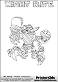 Printable or online colorable Skylanders Swap Force coloring page. This colouring sheet show the combination skylander NIGHT RISE that has to be made by combining parts from other Skylanders Swap Force characters! NIGHT RISE is drawn with the upper part of the NIGHT SHIFT Skylander and the lower part of the SPY RISE Skylander. In this coloring page, the NIGHT RISE skylander can be colored in full - as a complete skylander. The colouring page is drawn with a super thin line and has a colorable text with the NIGHT RISE letters as well. Print and color this Skylanders Swap Force NIGHT RISE coloring book page that is drawn and made available by Loke Hansen (http://www.LokeHansen.com) based on the original artwork of the Skylanders characters from the Skylanders Swap Force website. This coloring page variant has the highest amount of detail areas due to the thin drawing line used. Be sure to check the two other variants of this coloring page for more stroke (the line used to draw the NIGHT RISE with) options.