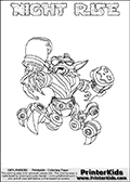 Skylanders Swap Force coloring page with NIGHT RISE. The NIGHT RISE Skylander figure cannot be bought as it is, it must be made by combining parts from NIGHT SHIFT AND SPY RISE! NIGHT RISE is drawn with the upper part of the NIGHT SHIFT Skylander and the lower part of the SPY RISE Skylander. In this coloring page, the NIGHT RISE skylander can be colored completely. The colouring page is drawn with a thin shaded line and has a colorable text with the NIGHT RISE letters as well. Print and color this Skylanders Swap Force NIGHT RISE coloring book page that is drawn and made available by Loke Hansen (http://www.LokeHansen.com) based on the original artwork of the Skylanders characters from the Skylanders Swap Force website. This line variant is the -editors choice- where detail areas and line appearance are in best balance. Be sure to check the two other variants of this coloring page for more stroke (the line used to draw the NIGHT RISE with) options.