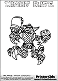 Printable and online colorable page for Skylanders Swap Force fans with the combination figure called NIGHT RISE. NIGHT RISE must be made by combining parts from other Skylanders Swap Force characters! NIGHT RISE is drawn with the upper part of the NIGHT SHIFT Skylander and the lower part of the SPY RISE Skylander, the part used from each Skylander is used in the new skylanders name. In this coloring page, the NIGHT RISE skylander can be colored completely. The colouring page is drawn with a very thick line making it ideal for the youngest Skylanders Swap Force fans. The downside of the thick line is that some detail areas become unavailable for coloring. The coloring page has a colorable text with the NIGHT RISE letters as well. Print and color this Skylanders Swap Force NIGHT RISE coloring book page that is drawn and made available by Loke Hansen (http://www.LokeHansen.com) based on the original artwork of the Skylanders characters from the Skylanders Swap Force website. Be sure to check the two other variants of this coloring page for more line width options.