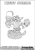 Freely available printable coloring page with the Skylanders Swap Force combined figure NIGHT SHAKE. This is one of the different printable coloring pages here at www.PrinterKids.com that have a colorable Skylanders Swap Force figure with one of more parts from the mysterious boxing themed skylander NIGHT SHIFT. This printable coloring sheet show the Skylanders Swap Force figure combination NIGHT SHAKE, that is drawn with the upper part of the NIGHT SHIFT Skylander holding a pair of boxing gloves and the lower part of the RATTLE SHAKE Skylander. In this coloring page, the NIGHT SHAKE skylander is designed so it can be colored in full - as one complete character (a free browser based online coloring page version is available as well for mouse and touch devices!). Print and color this Skylanders Swap Force NIGHT SHAKE page that is drawn by Loke Hansen (http://www.LokeHansen.com) based on the original artwork of the Skylanders characters from the Skylanders Swap Force website. Be sure to check out the many other Skylanders Swap force coloring pages!