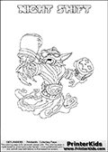 Coloring page with NIGHT SHIFT from Skylanders Swap Force. Skylanders Swap Force is a unique multi-platform game where characters can be combined into even more characters. The Skylanders character in this coloring print - NIGHT SHIFT is a standard character and has no parts from other Skylanders characters. It can however replace either the upper or lower body with that of another Skylanders character. This coloring page for printing show the Skylander in full. Print and color this Skylanders Swap Force NIGHT SHIFT page that is drawn by Loke Hansen (http://www.LokeHansen.com) based on the original artwork of the Skylanders characters.