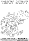 Printable or online colorable Skylanders Swap Force coloring page with the original swappable character NIGHT SHIFT. NIGHT SHIFT is a Skylander that can be bought and combined with other swappable Skylanders - the two parts NIGHT and SHIFT are in the same figure box! The colouring page is drawn with a super thin line and has a colorable text with the NIGHT SHIFT letters. Print and color this Skylanders Swap Force NIGHT SHIFT coloring print page that is drawn and made available by Loke Hansen (http://www.LokeHansen.com) based on the original artwork of the Skylanders characters from the Skylanders Swap Force website. This coloring page variant has the highest amount of detail areas due to the thin drawing line used. Be sure to check the two other variants of this coloring page for more stroke (the line used to draw the NIGHT SHIFT with) options.