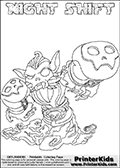 Printable or online colorable Skylanders Swap Force coloring page with the original swappable character NIGHT SHIFT. NIGHT SHIFT is a Skylander that can be bought and combined with other swappable Skylanders - the two parts NIGHT and SHIFT are in the same figure box! The colouring page is drawn with a super thin line that has a shadow applied to it. This make the stroke easier to see while maintaining the majority of the colorable areas. The printable coloring page also have the skylander name as colorable text. Print and color this Skylanders Swap Force NIGHT SHIFT coloring print page that is drawn and made available by Loke Hansen (http://www.LokeHansen.com) based on the original artwork of the Skylanders characters from the Skylanders Swap Force website.