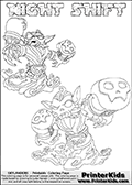 Printable or online colorable Skylanders Swap Force coloring page with two colorable variants of the original swappable character NIGHT SHIFT. NIGHT SHIFT is a Skylander that can be bought and combined with other swappable Skylanders - the two parts NIGHT and SHIFT are in the same figure box! The colouring page is drawn with a super thin line and has a colorable text with the NIGHT SHIFT letters. Print and color this Skylanders Swap Force NIGHT SHIFT coloring print page that is drawn and made available by Loke Hansen (http://www.LokeHansen.com) based on the original artwork of the Skylanders characters from the Skylanders Swap Force website. This coloring page variant has the highest amount of detail areas due to the thin drawing line used. Be sure to check the two other variants of this coloring page for more stroke (the line used to draw the NIGHT SHIFT with) options.