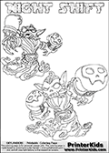 Printable or online colorable Skylanders Swap Force coloring page with two colorable variants of  the original swappable character NIGHT SHIFT. NIGHT SHIFT is a Skylander that can be bought and combined with other swappable Skylanders - the two parts NIGHT and SHIFT are in the same figure box! The colouring page is drawn with a super thin line that has a shadow applied to it. This make the stroke easier to see while maintaining the majority of the colorable areas. The printable coloring page also have the skylander name as colorable text. Print and color this Skylanders Swap Force NIGHT SHIFT coloring print page that is drawn and made available by Loke Hansen (http://www.LokeHansen.com) based on the original artwork of the Skylanders characters from the Skylanders Swap Force website.