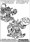 Printable or online colorable Skylanders Swap Force coloring page with two colorable variants of  the original swappable character NIGHT SHIFT. NIGHT SHIFT is a Skylander that can be bought and combined with other swappable Skylanders - the two parts NIGHT and SHIFT are in the same figure box! The colouring page is drawn with a thick line. This make the coloring page ideal for the youngest fans. The printable coloring page also have the skylander name as colorable text. Print and color this Skylanders Swap Force NIGHT SHIFT coloring print page that is drawn and made available by Loke Hansen (http://www.LokeHansen.com) based on the original artwork of the Skylanders characters from the Skylanders Swap Force website.