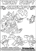 Printable or online colorable Skylanders Swap Force coloring page with the original swappable character NIGHT SHIFT and 6 Chompy figures (chompies that can be colored). Chompies are somewhat easy opponents players face in the different Skylanders games.  NIGHT SHIFT is a Skylander that can be bought and combined with other swappable Skylanders - the two parts NIGHT and SHIFT are in the same figure box! The colouring page is drawn with a super thin line that has a shadow applied to it. This make the stroke easier to see while maintaining the majority of the colorable areas. The printable coloring page also have the skylander name and CHOMPY as colorable text. Print and color this Skylanders Swap Force NIGHT SHIFT coloring print page that is drawn and made available by Loke Hansen (http://www.LokeHansen.com) based on the original artwork of the Skylanders characters from the Skylanders Swap Force website.