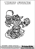 Freely available printable coloring page with the Skylanders Swap Force combined figure NIGHT STONE. This is one of the different printable coloring pages here at www.PrinterKids.com that have a colorable Skylanders Swap Force figure with one of more parts from the mysterious boxing themed skylander NIGHT SHIFT. This printable coloring sheet show the Skylanders Swap Force figure combination NIGHT STONE, that is drawn with the upper part of the NIGHT SHIFT Skylander holding a pair of boxing gloves and the lower part of the DOOM STONE Skylander. In this coloring page, the NIGHT STONE skylander is designed so it can be colored in full - as one complete character (a free browser based online coloring page version is available as well for mouse and touch devices!). Print and color this Skylanders Swap Force NIGHT STONE page that is drawn by Loke Hansen (http://www.LokeHansen.com) based on the original artwork of the Skylanders characters from the Skylanders Swap Force website. Be sure to check out the many other Skylanders Swap force coloring pages!