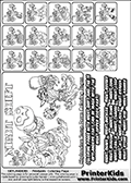 Printable Skylanders Swap Force coloring page for kids with all 16 combinations of Skylanders made with the NIGHT upper part. Most of the skylanders coloring figures are relatively small - but the printable colouring sheet is really fun nonetheless. Print and color this Skylanders Swap Force MASTERS NIGHT SWAP coloring print page that is drawn and made available by Loke Hansen (http://www.LokeHansen.com) based on the original artwork of the Skylanders characters from the Skylanders Swap Force website. This coloring page variant was originally designed as a coloring page section teaser for the PrinterKids website - but my own kids just loved it so much I turned it into a coloring page others could print as well! The Skylanders combinations show here for coloring are: NIGHT ZONE, NIGHT JET, NIGHT STONE, NIGHT KRAKEN, NIGHT RANGER, NIGHT BLADE, NIGHT DRILLA, NIGHT LOOP, NIGHT CHARGE, NIGHT SHIFT, NIGHT SHAKE, NIGHT ROUSER, NIGHT RISE, NIGHT BOMB, NIGHT SHADOW and NIGHT BUCKLER.