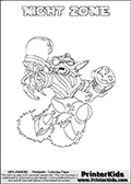 Freely available printable coloring page with the Skylanders Swap Force combined figure NIGHT ZONE. This is one of the different printable coloring pages here at www.PrinterKids.com that have a colorable Skylanders Swap Force figure with one of more parts from the mysterious boxing themed skylander NIGHT SHIFT. This printable coloring sheet show the Skylanders Swap Force figure combination NIGHT ZONE, that is drawn with the upper part of the NIGHT SHIFT Skylander holding a pair of boxing gloves and the lower part of the BLAST ZONE Skylander. In this coloring page, the NIGHT ZONE skylander is designed so it can be colored in full - as one complete character (a free browser based online coloring page version is available as well for mouse and touch devices!). Print and color this Skylanders Swap Force NIGHT ZONE page that is drawn by Loke Hansen (http://www.LokeHansen.com) based on the original artwork of the Skylanders characters from the Skylanders Swap Force website. Be sure to check out the many other Skylanders Swap force coloring pages!