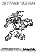 Printable colouring sheet with the Skylanders Swap Force character RATTLE BLADE. One of the many different printable coloring pages here at www.PrinterKids.com that have a colorable Skylanders Swap Force figure with one of more parts from the adventure snake themed Skylander RATTLE SHAKE. This  coloring page show the Skylanders Swap Force figure combination RATTLE BLADE, that is drawn with the upper part of the RATTLE SHAKE Skylander and the lower part of the FREEZE BLADE Skylander. In this coloring page, the RATTLE BLADE skylander can be colored in full - as one complete character (a free online coloring page version is available as well). Print and color this Skylanders Swap Force RATTLE BLADE sheet that is drawn by Loke Hansen (http://www.LokeHansen.com) based on the original artwork of the Skylanders characters from the Skylanders Swap Force website.