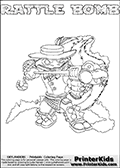 Printable or online colorable Skylanders Swap Force coloring page. This colouring sheet show the combination skylander RATTLE BOMB that has to be made by combining parts from other Skylanders Swap Force characters! RATTLE BOMB is drawn with the upper part of the RATTLE SHAKE Skylander and the lower part of the STINK BOMB Skylander. In this coloring page, the RATTLE BOMB skylander can be colored in full - as a complete skylander. The colouring page is drawn with a super thin line and has a colorable text with the RATTLE BOMB letters as well. Print and color this Skylanders Swap Force RATTLE BOMB coloring book page that is drawn and made available by Loke Hansen (http://www.LokeHansen.com) based on the original artwork of the Skylanders characters from the Skylanders Swap Force website. This coloring page variant has the highest amount of detail areas due to the thin drawing line used. Be sure to check the two other variants of this coloring page for more stroke (the line used to draw the RATTLE BOMB with) options.