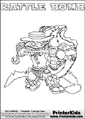 Skylanders Swap Force coloring page with RATTLE BOMB. The RATTLE BOMB Skylander figure cannot be bought as it is, it must be made by combining parts from RATTLE SHAKE AND STINK BOMB! RATTLE BOMB is drawn with the upper part of the RATTLE SHAKE Skylander and the lower part of the STINK BOMB Skylander. In this coloring page, the RATTLE BOMB skylander can be colored completely. The colouring page is drawn with a thin shaded line and has a colorable text with the RATTLE BOMB letters as well. Print and color this Skylanders Swap Force RATTLE BOMB coloring book page that is drawn and made available by Loke Hansen (http://www.LokeHansen.com) based on the original artwork of the Skylanders characters from the Skylanders Swap Force website. This line variant is the -editors choice- where detail areas and line appearance are in best balance. Be sure to check the two other variants of this coloring page for more stroke (the line used to draw the RATTLE BOMB with) options.