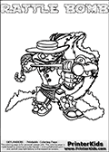 Skylanders Swap Force - RATTLE BOMB - Coloring Page 3 Thick Line
