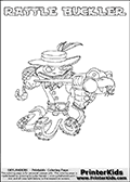 Printable or online colorable Skylanders Swap Force coloring page. This colouring sheet show the combination skylander RATTLE BUCKLER that has to be made by combining parts from other Skylanders Swap Force characters! RATTLE BUCKLER is drawn with the upper part of the RATTLE SHAKE Skylander and the lower part of the WASH BUCKLER Skylander. In this coloring page, the RATTLE BUCKLER skylander can be colored in full - as a complete skylander. The colouring page is drawn with a super thin line and has a colorable text with the RATTLE BUCKLER letters as well. Print and color this Skylanders Swap Force RATTLE BUCKLER coloring book page that is drawn and made available by Loke Hansen (http://www.LokeHansen.com) based on the original artwork of the Skylanders characters from the Skylanders Swap Force website. This coloring page variant has the highest amount of detail areas due to the thin drawing line used. Be sure to check the two other variants of this coloring page for more stroke (the line used to draw the RATTLE BUCKLER with) options.