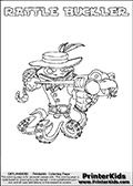Skylanders Swap Force coloring page with RATTLE BUCKLER. The RATTLE BUCKLER Skylander figure cannot be bought as it is, it must be made by combining parts from RATTLE SHAKE AND WASH BUCKLER! RATTLE BUCKLER is drawn with the upper part of the RATTLE SHAKE Skylander and the lower part of the WASH BUCKLER Skylander. In this coloring page, the RATTLE BUCKLER skylander can be colored completely. The colouring page is drawn with a thin shaded line and has a colorable text with the RATTLE BUCKLER letters as well. Print and color this Skylanders Swap Force RATTLE BUCKLER coloring book page that is drawn and made available by Loke Hansen (http://www.LokeHansen.com) based on the original artwork of the Skylanders characters from the Skylanders Swap Force website. This line variant is the -editors choice- where detail areas and line appearance are in best balance. Be sure to check the two other variants of this coloring page for more stroke (the line used to draw the RATTLE BUCKLER with) options.
