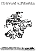 Printable and online colorable page for Skylanders Swap Force fans with the combination figure called RATTLE BUCKLER. RATTLE BUCKLER must be made by combining parts from other Skylanders Swap Force characters! RATTLE BUCKLER is drawn with the upper part of the RATTLE SHAKE Skylander and the lower part of the WASH BUCKLER Skylander, the part used from each Skylander is used in the new skylanders name. In this coloring page, the RATTLE BUCKLER skylander can be colored completely. The colouring page is drawn with a very thick line making it ideal for the youngest Skylanders Swap Force fans. The downside of the thick line is that some detail areas become unavailable for coloring. The coloring page has a colorable text with the RATTLE BUCKLER letters as well. Print and color this Skylanders Swap Force RATTLE BUCKLER coloring book page that is drawn and made available by Loke Hansen (http://www.LokeHansen.com) based on the original artwork of the Skylanders characters from the Skylanders Swap Force website. Be sure to check the two other variants of this coloring page for more line width options.