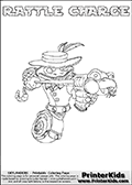 Printable colouring sheet with the Skylanders Swap Force character RATTLE CHARGE. One of the many different printable coloring pages here at www.PrinterKids.com that have a colorable Skylanders Swap Force figure with one of more parts from the adventure snake themed Skylander RATTLE SHAKE. This  coloring page show the Skylanders Swap Force figure combination RATTLE CHARGE, that is drawn with the upper part of the RATTLE SHAKE Skylander and the lower part of the MAGNA CHARGE Skylander. In this coloring page, the RATTLE CHARGE skylander can be colored in full - as one complete character (a free online coloring page version is available as well). Print and color this Skylanders Swap Force RATTLE CHARGE sheet that is drawn by Loke Hansen (http://www.LokeHansen.com) based on the original artwork of the Skylanders characters from the Skylanders Swap Force website.