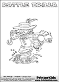 Printable colouring sheet with the Skylanders Swap Force character RATTLE DRILLA. One of the many different printable coloring pages here at www.PrinterKids.com that have a colorable Skylanders Swap Force figure with one of more parts from the adventure snake themed Skylander RATTLE SHAKE. This  coloring page show the Skylanders Swap Force figure combination RATTLE DRILLA, that is drawn with the upper part of the RATTLE SHAKE Skylander and the lower part of the GRILLA DRILLA Skylander. In this coloring page, the RATTLE DRILLA skylander can be colored in full - as one complete character (a free online coloring page version is available as well). Print and color this Skylanders Swap Force RATTLE DRILLA sheet that is drawn by Loke Hansen (http://www.LokeHansen.com) based on the original artwork of the Skylanders characters from the Skylanders Swap Force website.