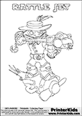 Printable colouring sheet with the Skylanders Swap Force character RATTLE JET. One of the many different printable coloring pages here at www.PrinterKids.com that have a colorable Skylanders Swap Force figure with one of more parts from the adventure snake themed Skylander RATTLE SHAKE. This  coloring page show the Skylanders Swap Force figure combination RATTLE JET, that is drawn with the upper part of the RATTLE SHAKE Skylander and the lower part of the BOOM JET Skylander. In this coloring page, the RATTLE JET skylander can be colored in full - as one complete character (a free online coloring page version is available as well). Print and color this Skylanders Swap Force RATTLE JET sheet that is drawn by Loke Hansen (http://www.LokeHansen.com) based on the original artwork of the Skylanders characters from the Skylanders Swap Force website.