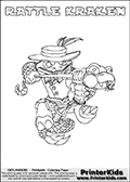 Printable colouring sheet with the Skylanders Swap Force character RATTLE KRAKEN. One of the many different printable coloring pages here at www.PrinterKids.com that have a colorable Skylanders Swap Force figure with one of more parts from the adventure snake themed Skylander RATTLE SHAKE. This  coloring page show the Skylanders Swap Force figure combination RATTLE KRAKEN, that is drawn with the upper part of the RATTLE SHAKE Skylander and the lower part of the FIRE KRAKEN Skylander. In this coloring page, the RATTLE KRAKEN skylander can be colored in full - as one complete character (a free online coloring page version is available as well). Print and color this Skylanders Swap Force RATTLE KRAKEN sheet that is drawn by Loke Hansen (http://www.LokeHansen.com) based on the original artwork of the Skylanders characters from the Skylanders Swap Force website.